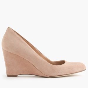 J.Crew Martina Suede Wedge nude 8.5